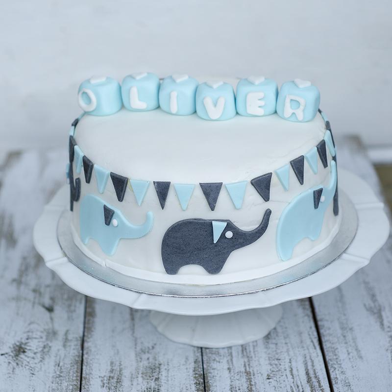 Christening cake with elephants
